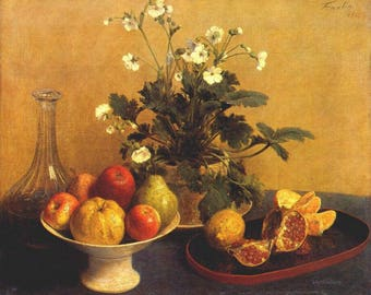 Fruit Painting Canvas Art, Fruit Paintings in Acrylic, Pomegranate Painting, Henri Fantin-Latour Oil Paiting Recreation