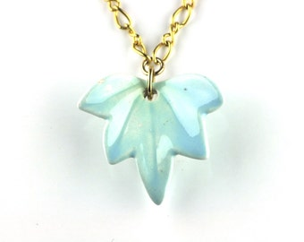 SALE - Vintage Blue Porcelain Leaf Pendant on Gold Chain