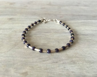 Men's Sapphire Bracelet with Sterling Silver Tubes