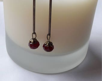 Ruby red Czech glass and antique brass drop earrings