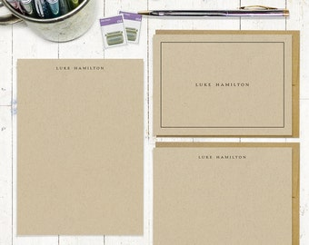 complete personalized stationery set - PERFECTLY SIMPLE on KRAFT - custom stationary set - notepad - folded cards - flat cards