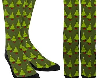 Christmas Tree Crew Socks - Holiday Socks - Santa Socks - Christmas Socks - Unique Socks - Novelty Socks - Cool Socks - FREE Shipping D61