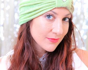 Turban Headwrap in Green Lace - Women's Lace Turban with Jewel - Jeweled Turban - Hair Turbans for Women