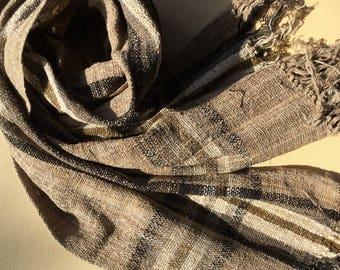Madagascar patterned brown handwoven raw silk scarf
