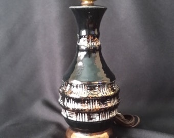 FREE SHIPPING Vintage Hollywood Regency / Modern Glossy Black Glamour Mini Ceramic Accent Lamp