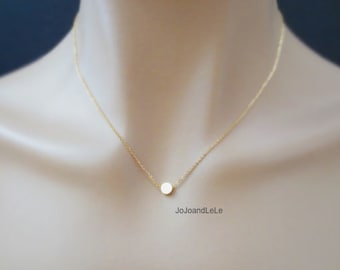 Dot necklace, dainty dot necklace, tiny dot necklace, rose gold dot necklace