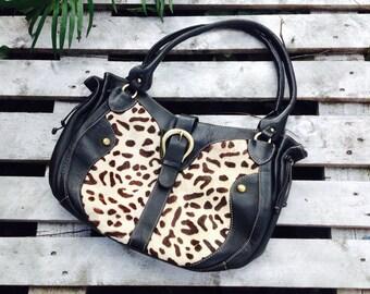LARGE BLACK LEATHER animal print,wild shoulder bag