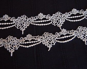lace, braid, medieval, romantic, shabby chic, White Ribbon