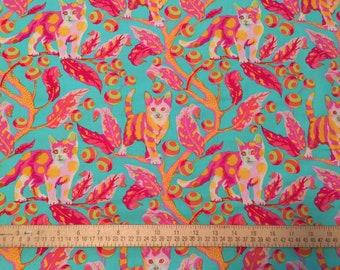 Tula Pink Tabby Road Disco Kitty,  Strawberry Kitty # PWTP092-STRA