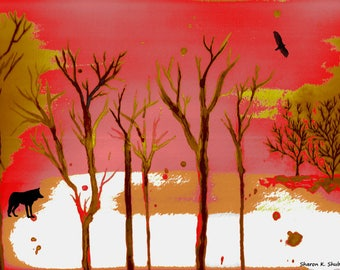 Red Forest Mixed Media Painting, Southwestern Art, Woodland Trees, Flying Eagle, Wolf Silhouette, Olive Green, Home Decor, Giclee Print