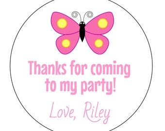 12 Butterfly Stickers, Garden Party, Butterfly Theme, Pink Butterfly, Favor Tags, Butterfly Labels, Thanks for Coming, Butterfly Birthday