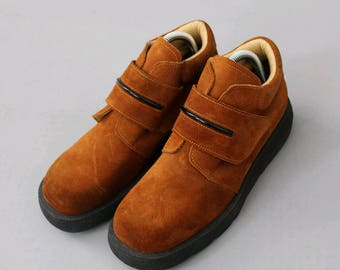 1990 french chunky Shoes rust suede leather euro40 us8/ 90s chunky shoes 8