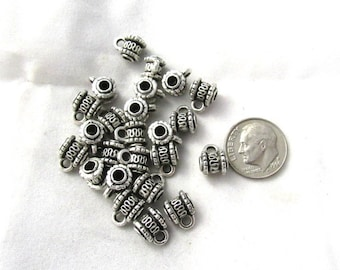 50 Antique Silver Wave Bail Beads 8x10mm (B374a)