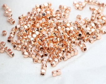 100 Pcs 2mm Rose Gold Spacer Beads - Spacer Beads - Spacer ball - Brass spacers - brass tiny beads , RE , ROSE111