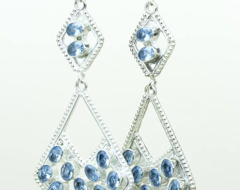 www.sarahdesignsjewelry.com Swiss Blue Topaz 925 SOLID (Nickel Free) Sterling Silver Italian Made Dangle Earrings e689