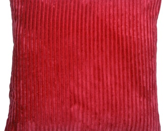 Wide Wale Corduroy 18x18 Red Throw Pillow