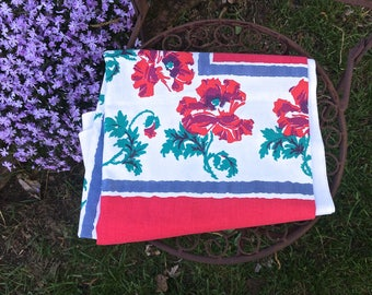Fabulous red flowered  Startex  tablecloth, vintage linens, floral tablecloth, table linens, 1950s vintage kitchen, TwoSwansSwimming