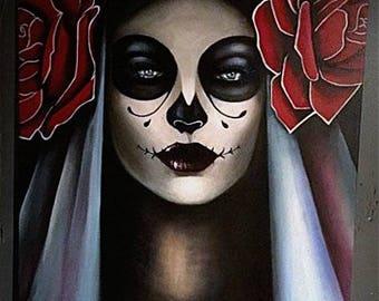 Day of the Dead, 50x70 acrylic painting, Mexican Culture, Dia des Muertos, Skull art, Sugar Skull, Roses, Mira ZeroDreams Art