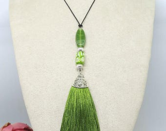 Green Tassel Pendant , Boho Pendant, Beaded Pendant, Pendant Necklace ,Tassel Pendant ,Handmade Jewellery ,Wearable Art ,OOAK, Tassel