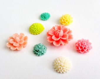 Resin Flower Magnets - Citrus Colors- Rare Earth Magnets- Set of 8
