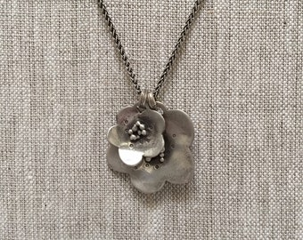 Double Buttercup Necklace Handmade Solid Sterling Silver