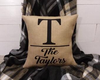 Outdoor farmhouse burlap monogram name letter pillow family initial