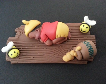 Fondant Winnie the Pooh baby cake topper for Baby Shower, Birthday, Party Favor