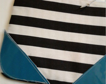 Black and White Zipper Pouch,  8.5 wide x 7 tall, Leather detail pouch, toiletry pouch,  makeup bag, Black White makeup bag, stripe bag