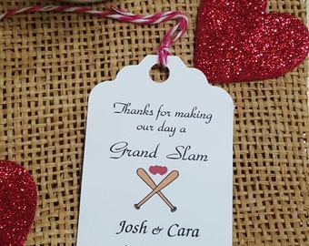 Personalized Favor Tags 2 1/2'', Wedding tags, Thank You tags, Favor tags, Gift tags, Bridal Shower Favor Tags, baseball wedding favor tags