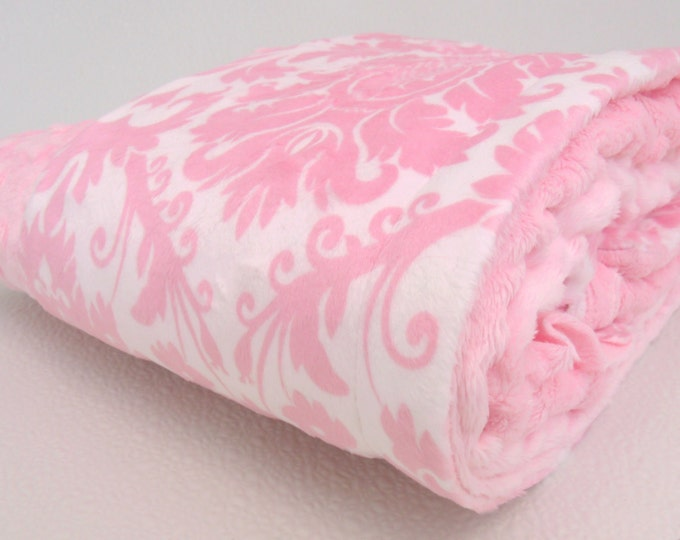 Pink Damask Minky Baby Blanket, also available in teen or atdult sizes