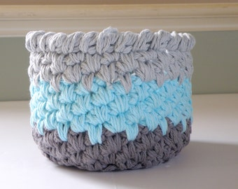 Crochet Storage Baskets, Cotton Bath or Nursery Storage Bins, Unique Yarn Bowl, Makeup Storage, Fancy Toilet Paper Holder in Gray and Aqua