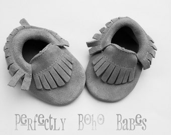 Light Grey Baby Suede Leather Moccasins