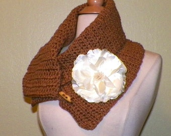 Brown Cowl Scarf  Button Infinity Neckwarmer Collar Earth Tone With Ivory Flower Brooch Freeform Crochet