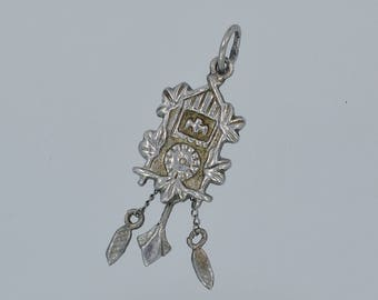 Vintage Sterling Cuckoo Clock Charm - Movable Pendulum