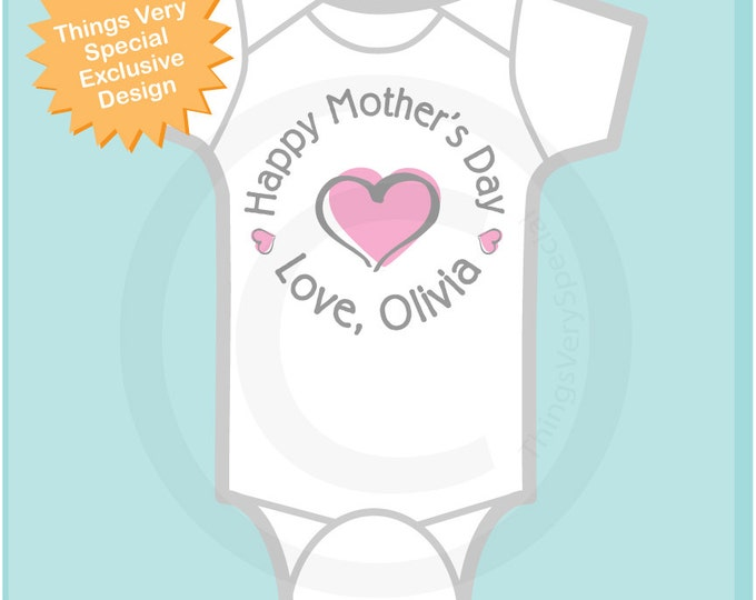 Happy Mother's Day Onesie,  Personalized Mothers Day Onesie or Tee shirt with Pink Heart, New Mom Gift (03112014e)