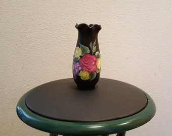 Hand painted black vase with roses