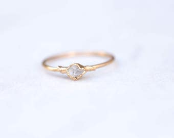 Gold Herkimer Diamond Ring for Women, Engagement Ring, Boho Ring, Raw Crystal Ring, Raw Diamond Ring, Raw Stone Ring, Delicate Dainty Ring