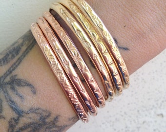 Stamped Stacking Cuff 14K Gold Fill or 14K Rose Gold Fill