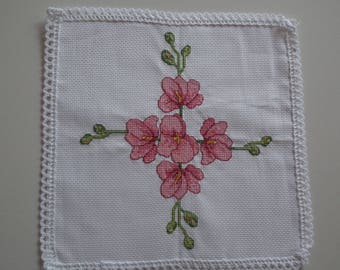 Hand embroidered floral lace DOILY