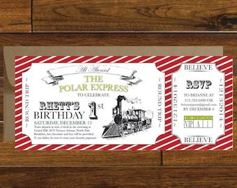 Polar Express Train Ticket Birthday Invitation, Digital Download