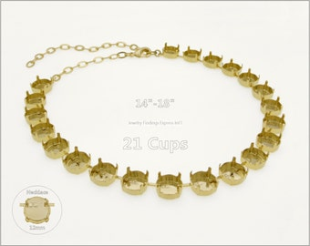 1 pc.+ 21 Cups, 12mm Empty Cup Chain for Necklace - Gold color