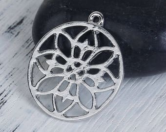 set of 5 matte silver mandala pattern of 24 X 21 mm charms/pendants