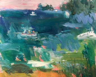 Maine coast and cove Painting, Down East , harbor and cove, lobster boats and ocean, original expressionist art, Russ Potak