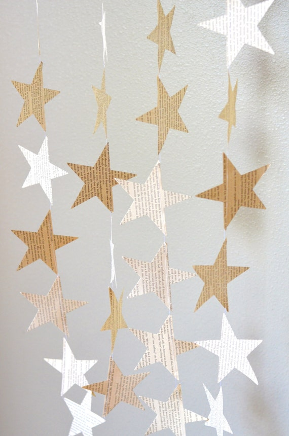 Vintage Book Paper Star Garland - 10 feet long. Perfect for wedding, bridal showers, birthdays, baby showers, Christmas, and more!