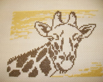 giraffe embroidered cross stitch