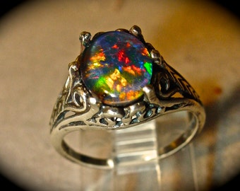 Black Opal Engagement Ring. Vintage Style.Choose Your Opal Type: Australian  Opal Triplet
