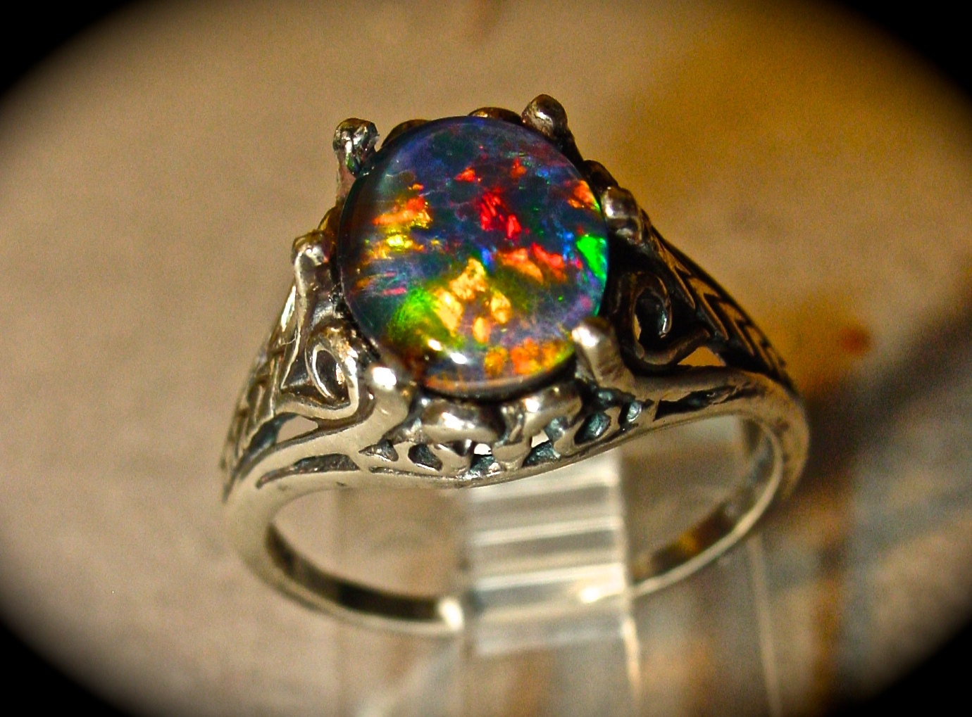 Black Opal Engagement Ring Vintage Style Choose Your Opal