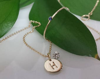 Solid 14kt gold Initial Pendant  or Charm 14k white gold 14kt rose gold 14kt yellow gold circle disc, push present , gift , childs birthdate