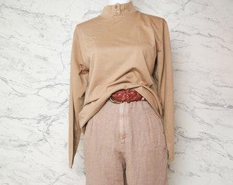 Beige half neck sweater size M | Beige turtleneck mock neck long sleeve top