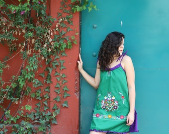 Green and purple one of a kind Hand Embroidered Mexican Spaghetti strapped dress